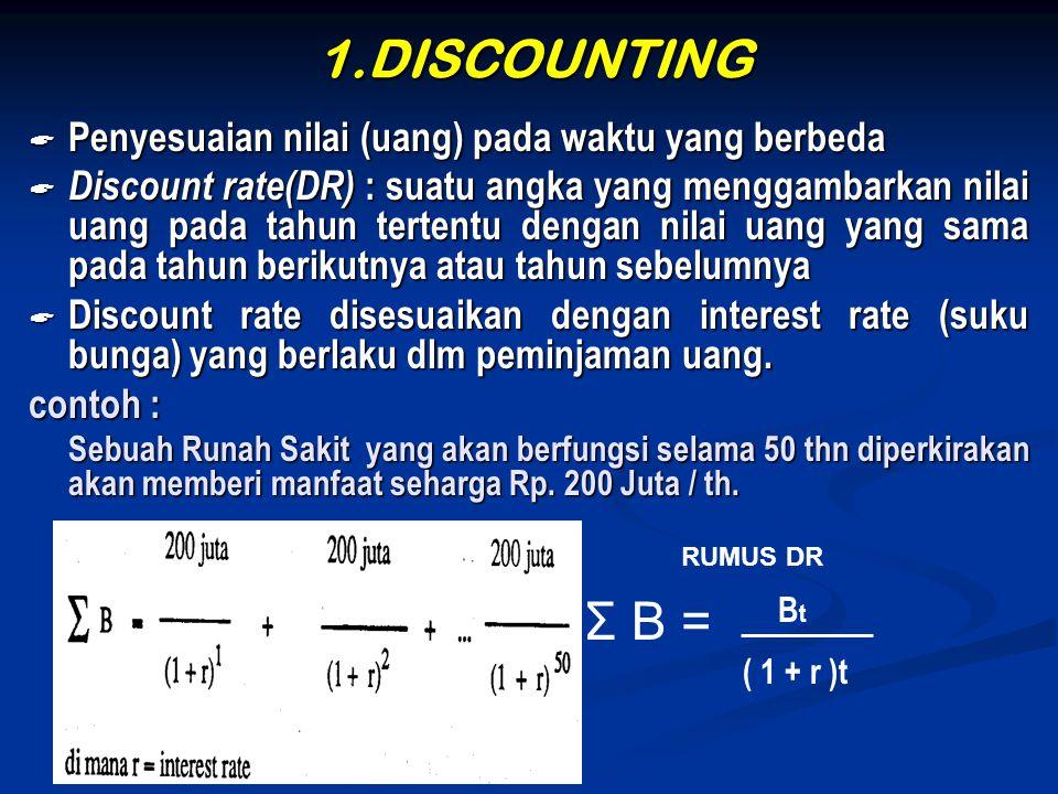 1.DISCOUNTING  Penyesuaian nilai (uang) pada waktu yang berbeda  Discount rate(DR) : suatu angka yang menggambarkan nilai uang pada tahun tertentu d