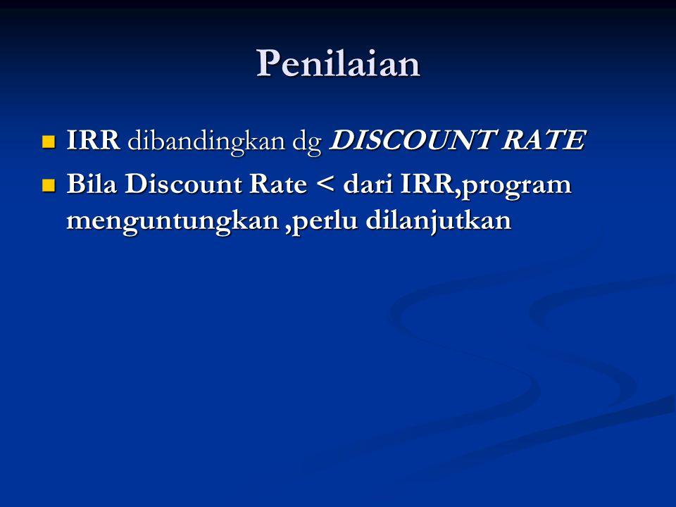 Penilaian  IRR dibandingkan dg DISCOUNT RATE  Bila Discount Rate < dari IRR,program menguntungkan,perlu dilanjutkan