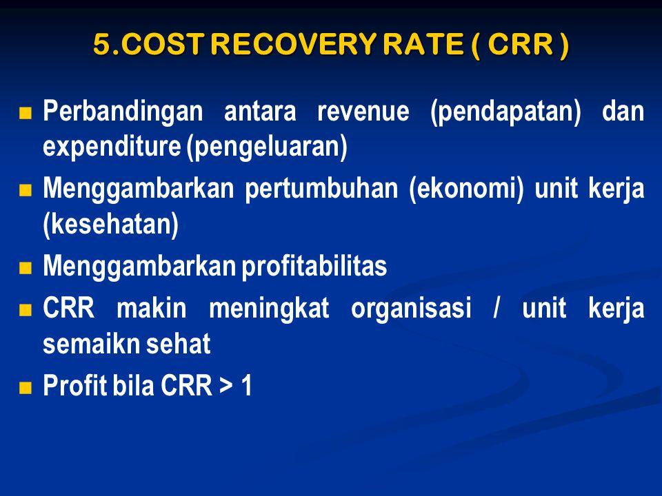 5.COST RECOVERY RATE ( CRR )   Perbandingan antara revenue (pendapatan) dan expenditure (pengeluaran)   Menggambarkan pertumbuhan (ekonomi) unit k