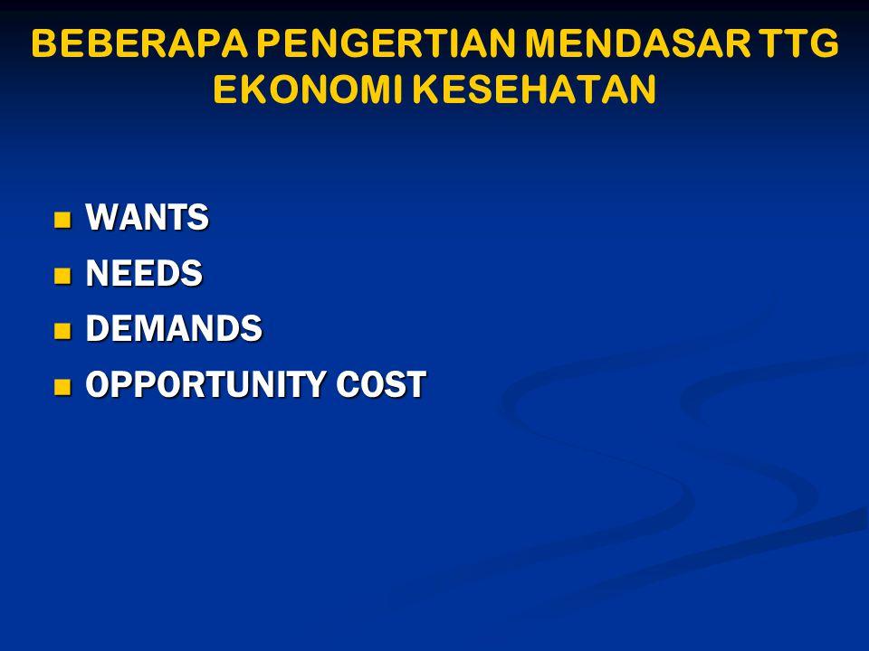 BEBERAPA PENGERTIAN MENDASAR TTG EKONOMI KESEHATAN  WANTS  NEEDS  DEMANDS  OPPORTUNITY COST