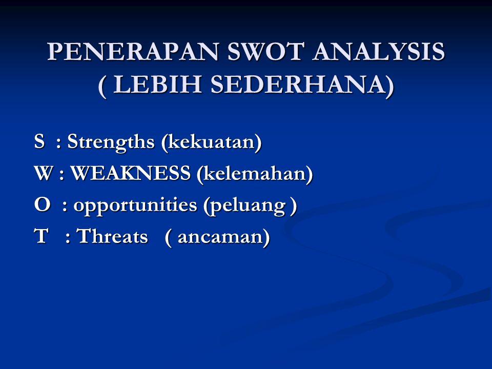 PENERAPAN SWOT ANALYSIS ( LEBIH SEDERHANA) S : Strengths (kekuatan) W : WEAKNESS (kelemahan) O : opportunities (peluang ) T : Threats ( ancaman)