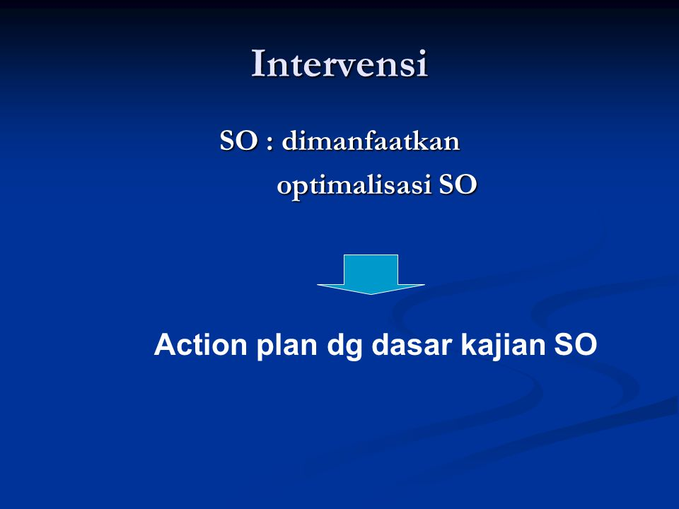 Intervensi SO : dimanfaatkan optimalisasi SO optimalisasi SO Action plan dg dasar kajian SO