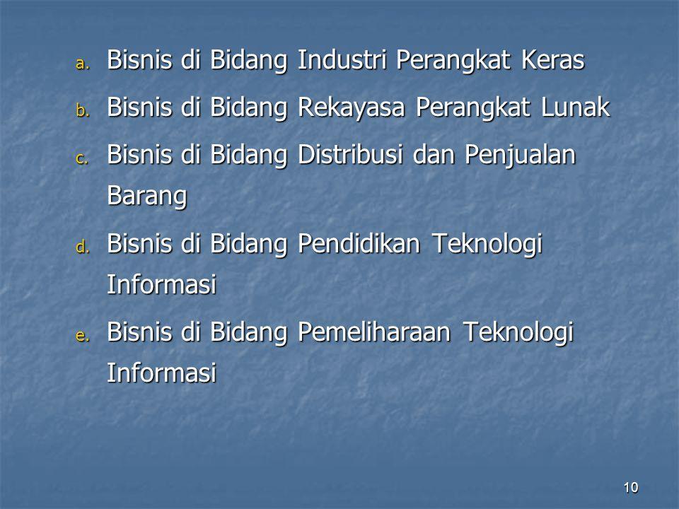 a. Bisnis di Bidang Industri Perangkat Keras b. Bisnis di Bidang Rekayasa Perangkat Lunak c. Bisnis di Bidang Distribusi dan Penjualan Barang d. Bisni