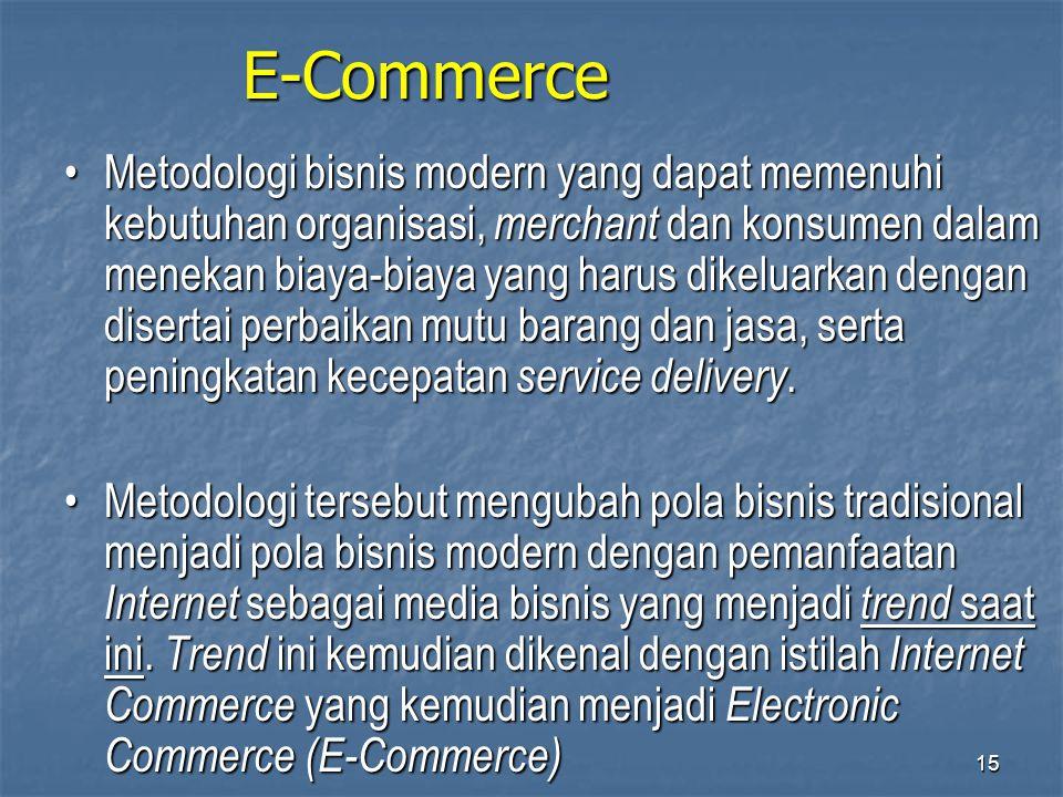 E-Commerce •Metodologi bisnis modern yang dapat memenuhi kebutuhan organisasi, merchant dan konsumen dalam menekan biaya-biaya yang harus dikeluarkan