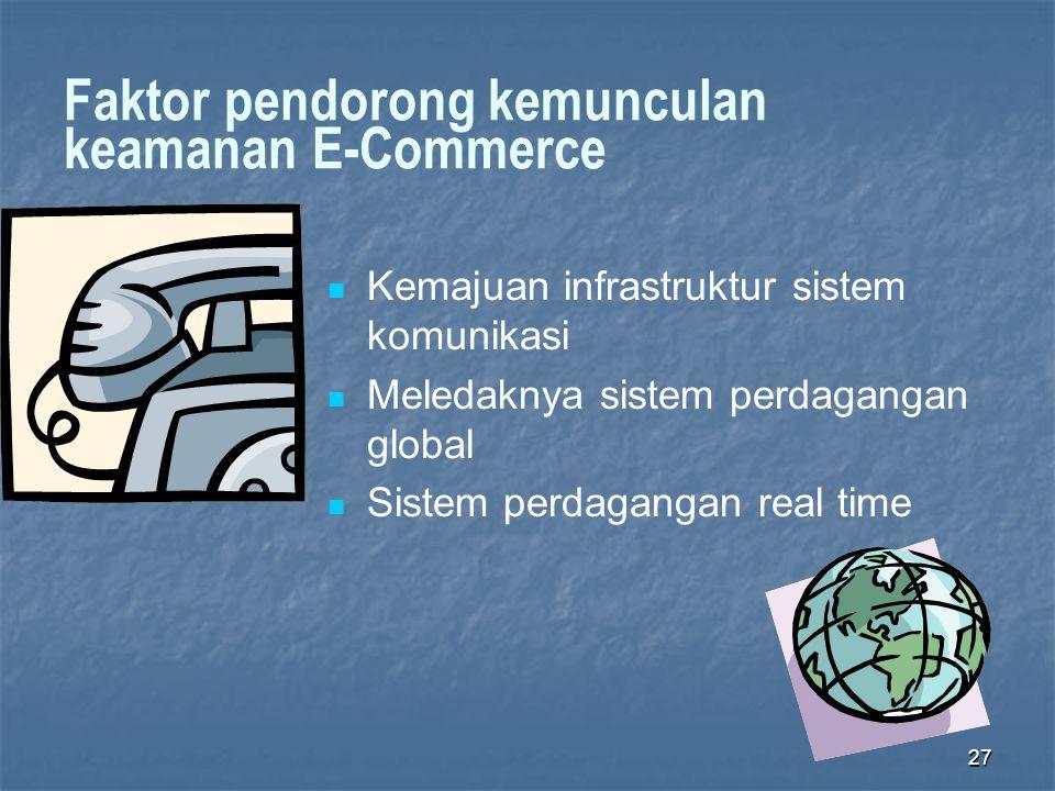 Faktor pendorong kemunculan keamanan E-Commerce  Kemajuan infrastruktur sistem komunikasi  Meledaknya sistem perdagangan global  Sistem perdagangan