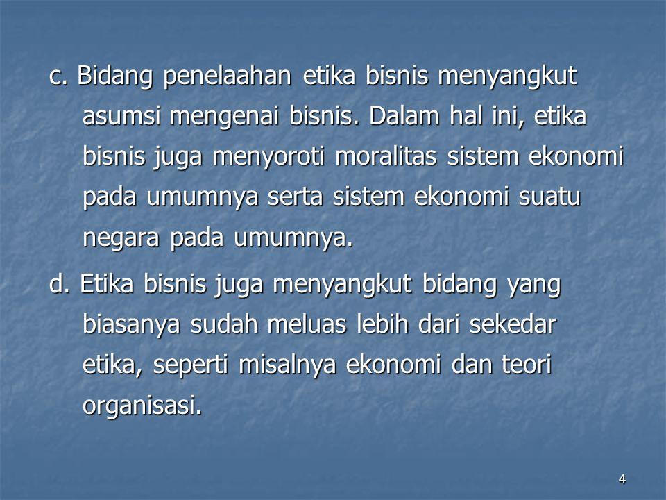 Prinsip – prinsip Etika Bisnis  Sony Keraf (1991) dalam buku Etika Bisnis: Membangun Citra Bisnis sebagai Profesi Luhur, mencatat beberapa hal yang menjadi prinsip dari etika bisnis.