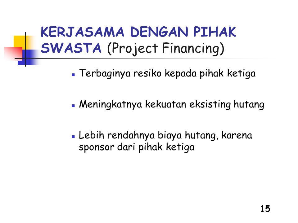 15 KERJASAMA DENGAN PIHAK SWASTA (Project Financing)  Terbaginya resiko kepada pihak ketiga  Meningkatnya kekuatan eksisting hutang  Lebih rendahnya biaya hutang, karena sponsor dari pihak ketiga