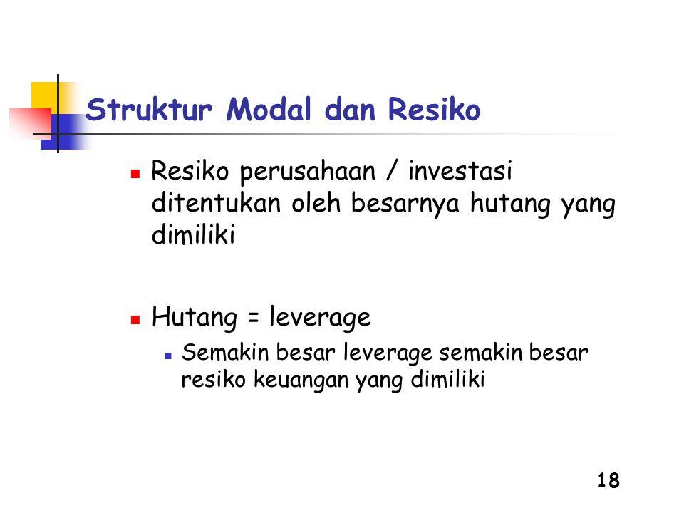 18  Resiko perusahaan / investasi ditentukan oleh besarnya hutang yang dimiliki  Hutang = leverage  Semakin besar leverage semakin besar resiko keuangan yang dimiliki Struktur Modal dan Resiko