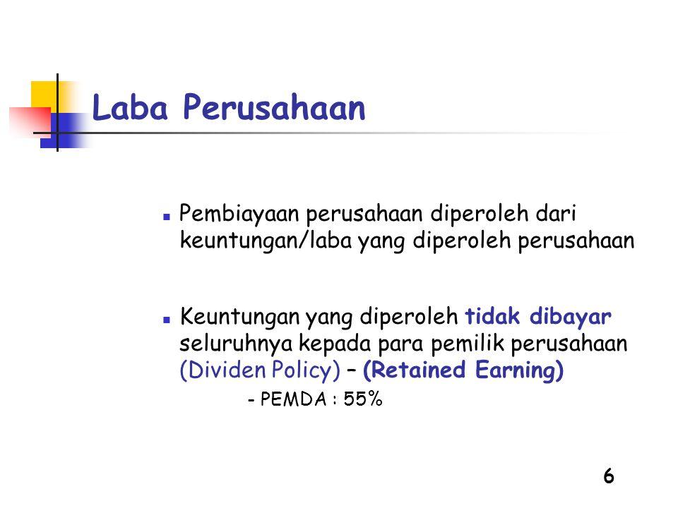 6 Laba Perusahaan  Pembiayaan perusahaan diperoleh dari keuntungan/laba yang diperoleh perusahaan  Keuntungan yang diperoleh tidak dibayar seluruhnya kepada para pemilik perusahaan (Dividen Policy) – (Retained Earning) - PEMDA : 55%