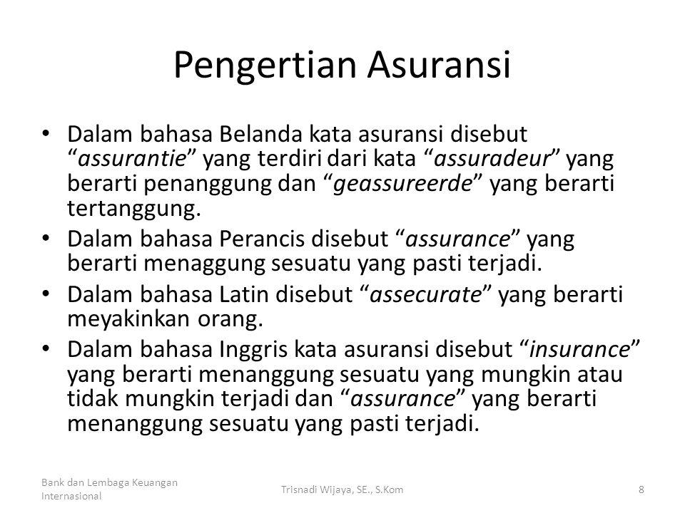 """Pengertian Asuransi • Dalam bahasa Belanda kata asuransi disebut """"assurantie"""" yang terdiri dari kata """"assuradeur"""" yang berarti penanggung dan """"geassur"""