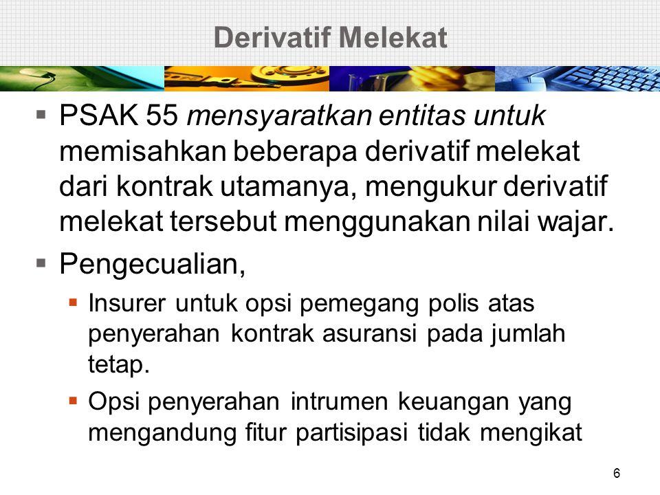 KARAKTERISTIK KONTRAK ASURANSI 7 1 •Salah satu pihak (insurer) secara signifikan menerima risiko asuransi (insurance risk); 2 •Ketidakpastian kejadian masa depan; 3 •Mengandung risiko asuransi (insurance risk) dan risiko lain.