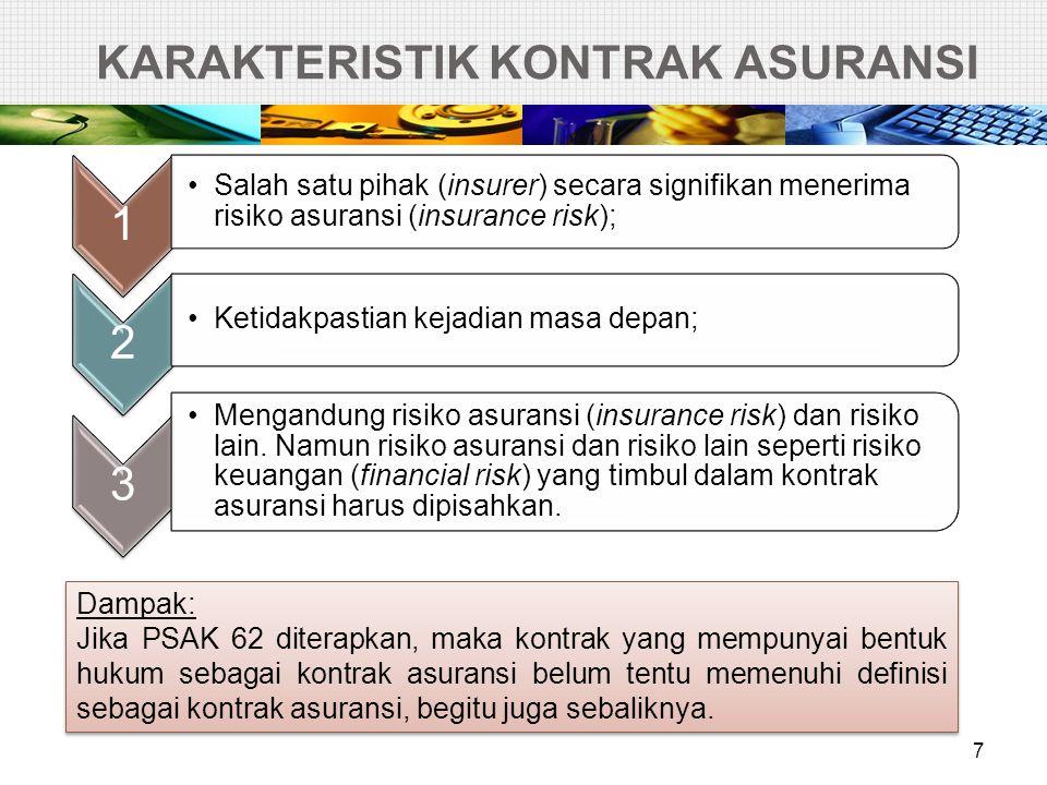 KARAKTERISTIK KONTRAK ASURANSI 7 1 •Salah satu pihak (insurer) secara signifikan menerima risiko asuransi (insurance risk); 2 •Ketidakpastian kejadian