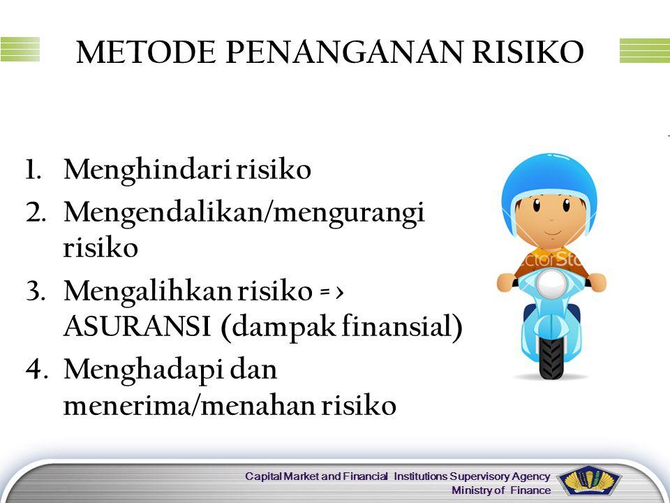 LOGO Capital Market and Financial Institutions Supervisory Agency Ministry of Finance METODE PENANGANAN RISIKO 1.Menghindari risiko 2.Mengendalikan/me