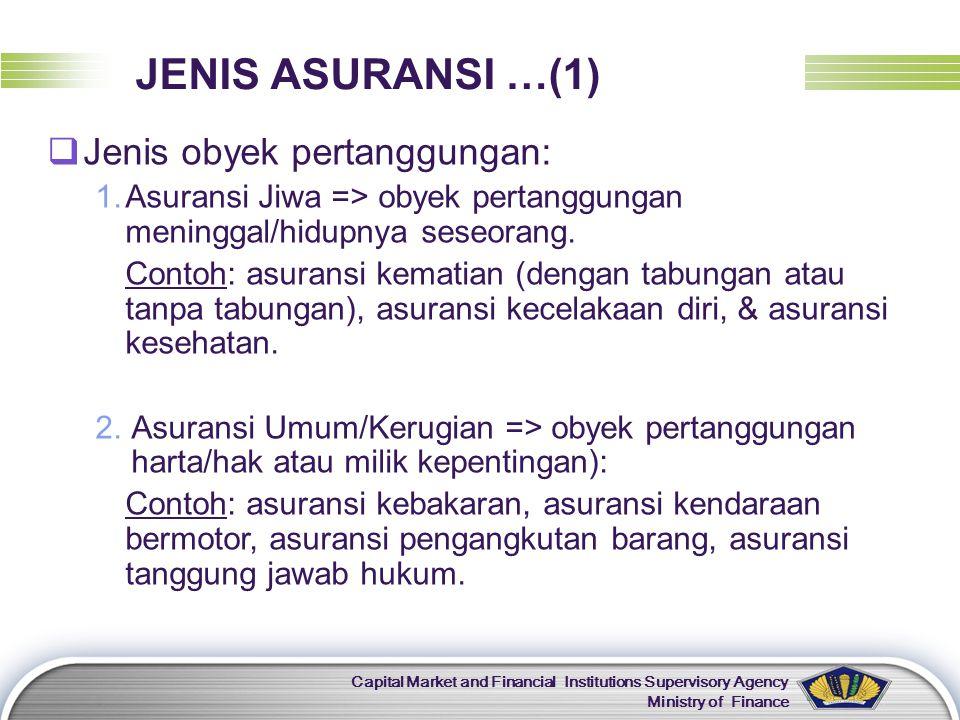 LOGO Capital Market and Financial Institutions Supervisory Agency Ministry of Finance JENIS ASURANSI …(1)  Jenis obyek pertanggungan: 1.Asuransi Jiwa