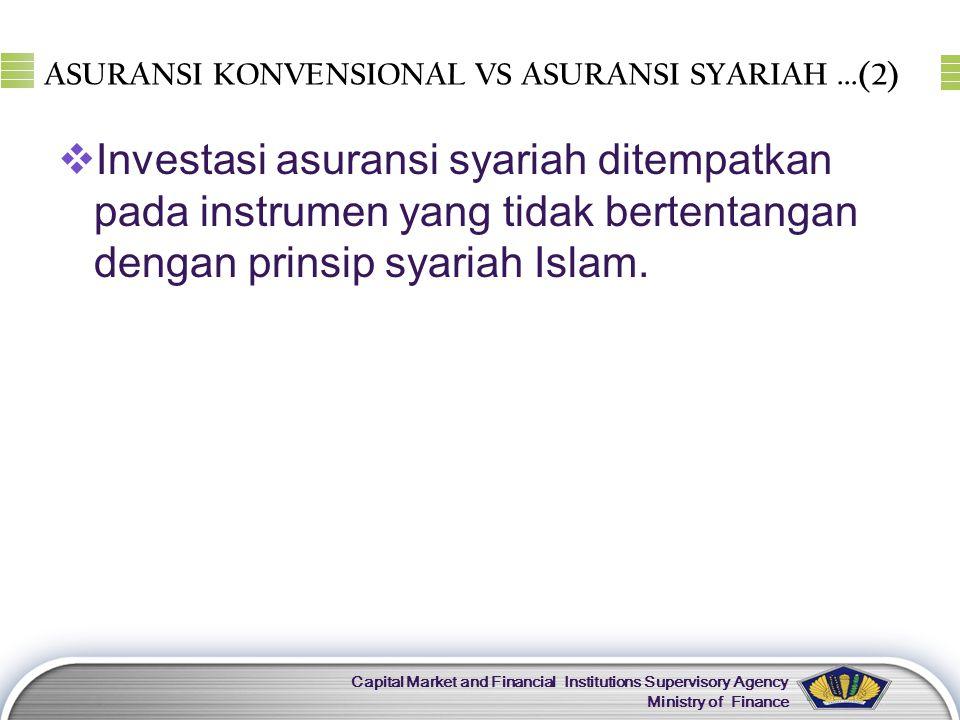 LOGO Capital Market and Financial Institutions Supervisory Agency Ministry of Finance ASURANSI KONVENSIONAL VS ASURANSI SYARIAH...(2)  Investasi asur