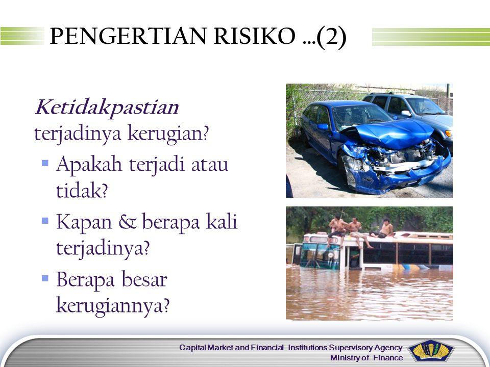 LOGO Capital Market and Financial Institutions Supervisory Agency Ministry of Finance JENIS RISIKO 1.Risiko Murni Kalau tidak terjadi tidak apa-apa, kalau terjadi rugi.