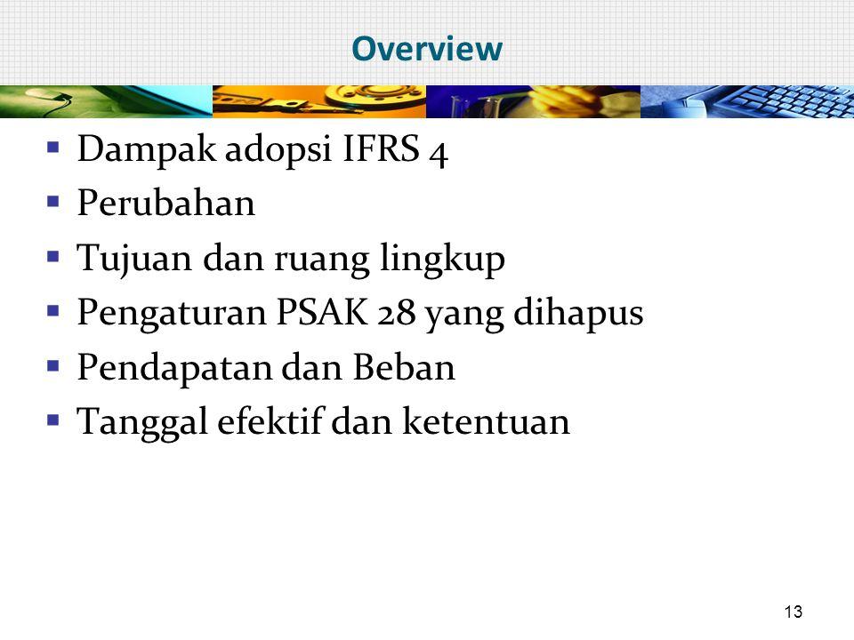 Overview  Dampak adopsi IFRS 4  Perubahan  Tujuan dan ruang lingkup  Pengaturan PSAK 28 yang dihapus  Pendapatan dan Beban  Tanggal efektif dan