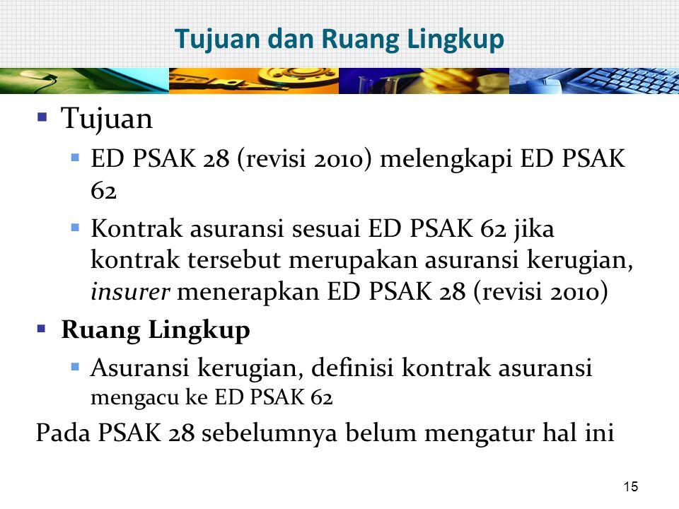 Tujuan dan Ruang Lingkup  Tujuan  ED PSAK 28 (revisi 2010) melengkapi ED PSAK 62  Kontrak asuransi sesuai ED PSAK 62 jika kontrak tersebut merupaka