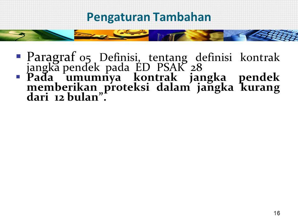 Pengaturan Tambahan  Paragraf 05 Definisi, tentang definisi kontrak jangka pendek pada ED PSAK 28  Pada umumnya kontrak jangka pendek memberikan pro
