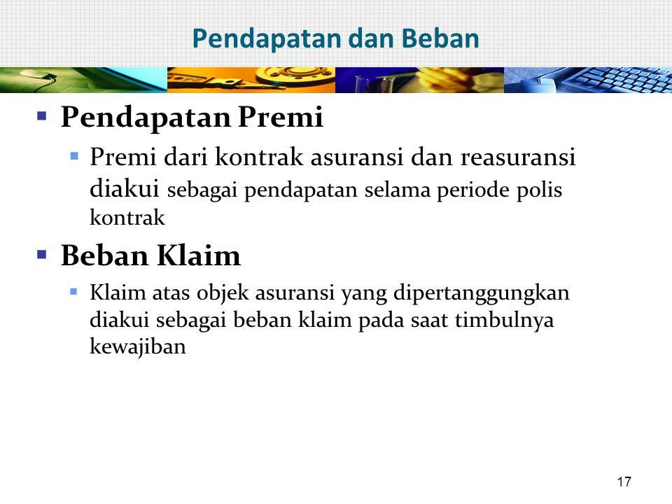Pendapatan dan Beban  Pendapatan Premi  Premi dari kontrak asuransi dan reasuransi diakui sebagai pendapatan selama periode polis kontrak  Beban Kl