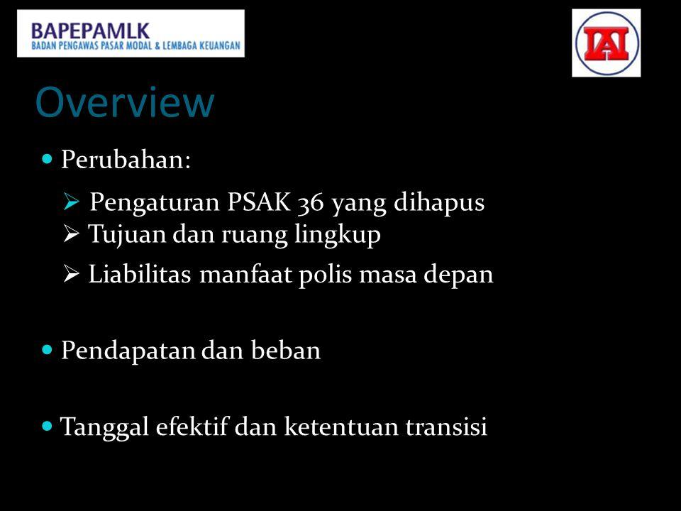 Overview  Perubahan:  Pengaturan PSAK 36 yang dihapus  Tujuan dan ruang lingkup  Liabilitas manfaat polis masa depan  Pendapatan dan beban  Tang