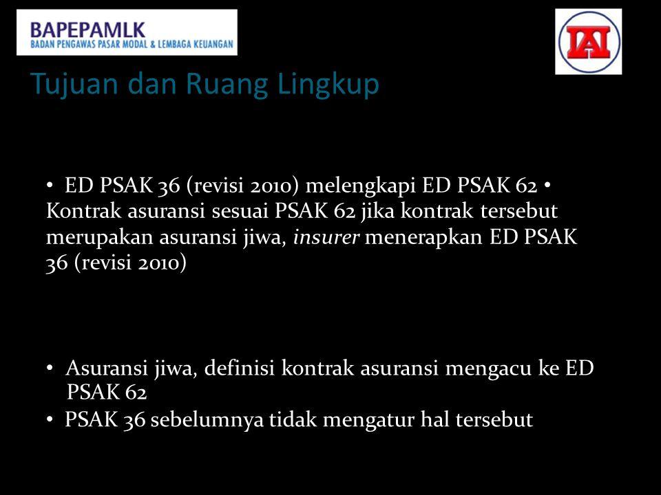 Tujuan dan Ruang Lingkup Tujuan • ED PSAK 36 (revisi 2010) melengkapi ED PSAK 62 • Kontrak asuransi sesuai PSAK 62 jika kontrak tersebut merupakan asu