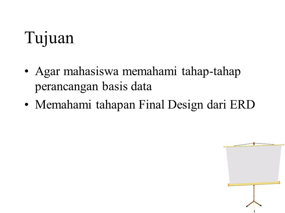 Tujuan •Agar mahasiswa memahami tahap-tahap perancangan basis data •Memahami tahapan Final Design dari ERD