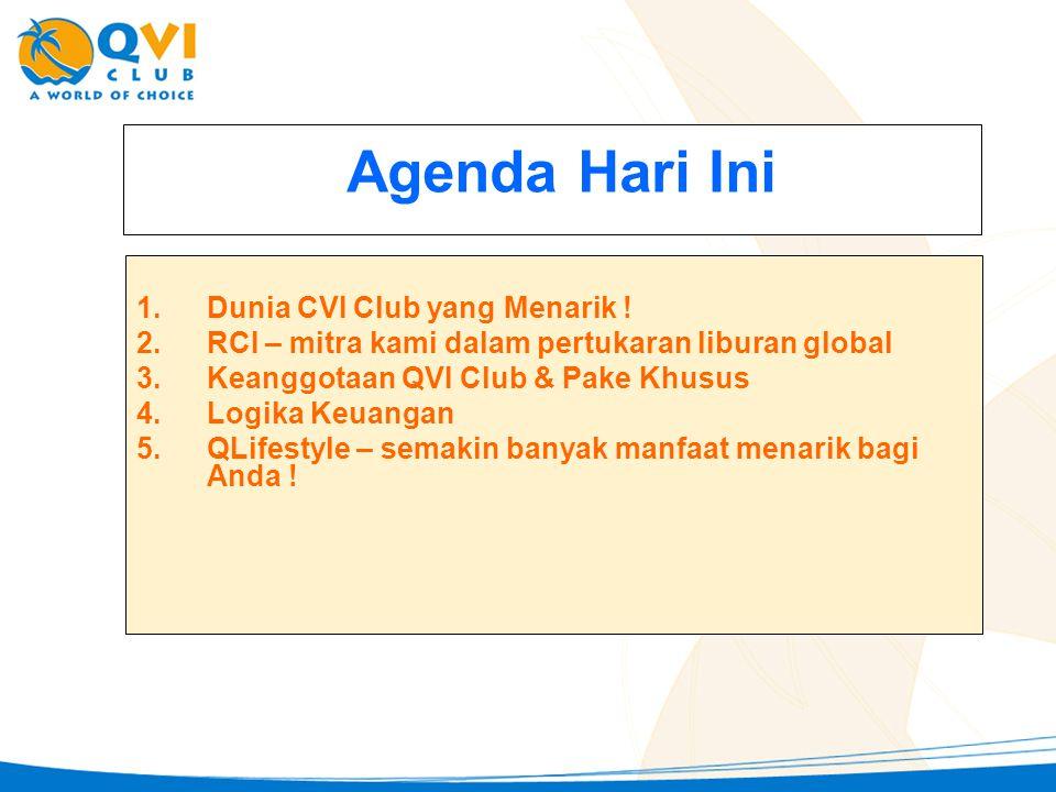Agenda Hari Ini 1.Dunia CVI Club yang Menarik ! 2.RCI – mitra kami dalam pertukaran liburan global 3.Keanggotaan QVI Club & Pake Khusus 4.Logika Keuan