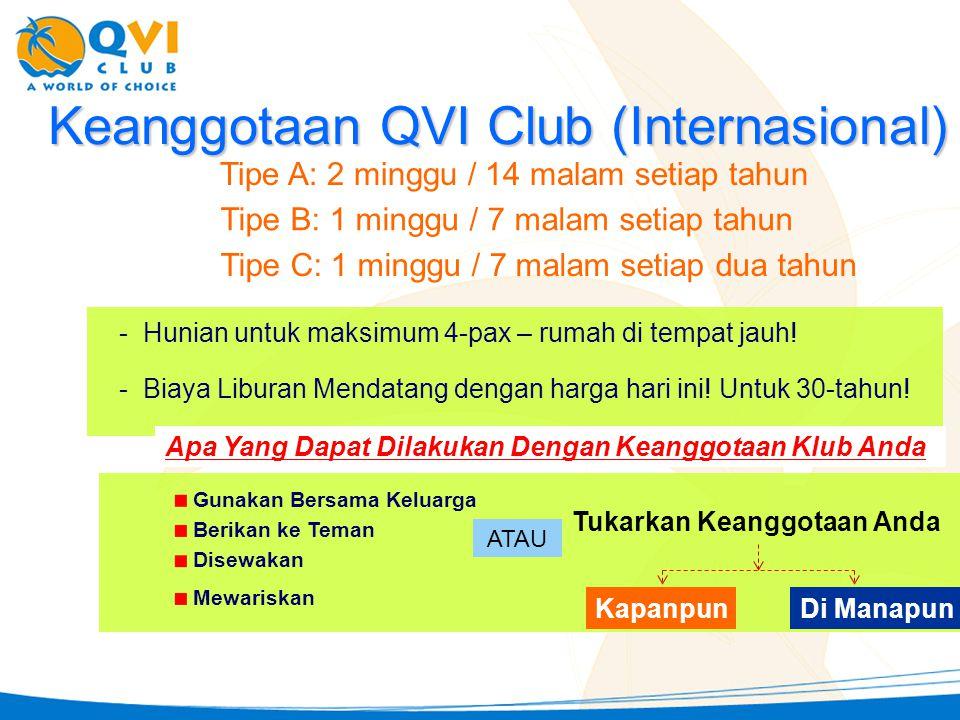 - Biaya Liburan Mendatang dengan harga hari ini! Untuk 30-tahun! KapanpunDi Manapun Keanggotaan QVI Club (Internasional) Gunakan Bersama Keluarga Beri