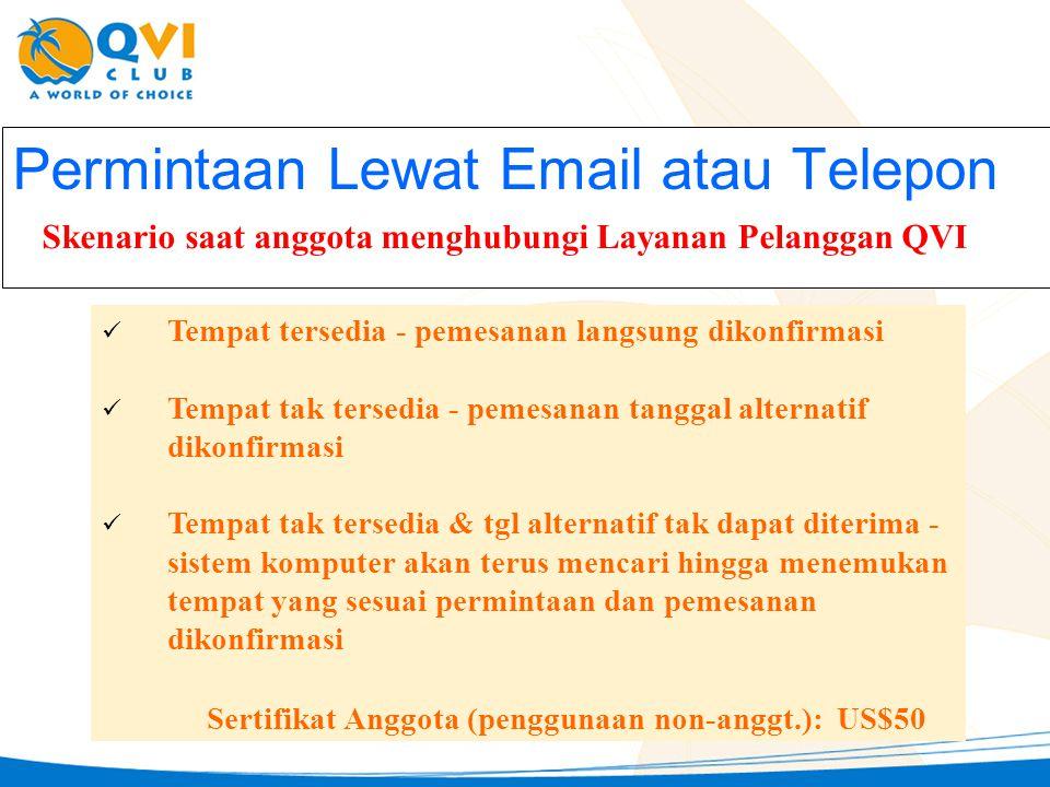 Permintaan Lewat Email atau Telepon Skenario saat anggota menghubungi Layanan Pelanggan QVI:  Tempat tersedia - pemesanan langsung dikonfirmasi  Tem