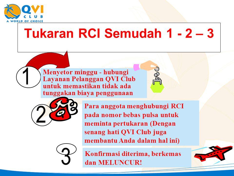 Tukaran RCI Semudah 1 - 2 – 3 1 Menyetor minggu - hubungi Layanan Pelanggan QVI Club untuk memastikan tidak ada tunggakan biaya penggunaan 2 Para angg