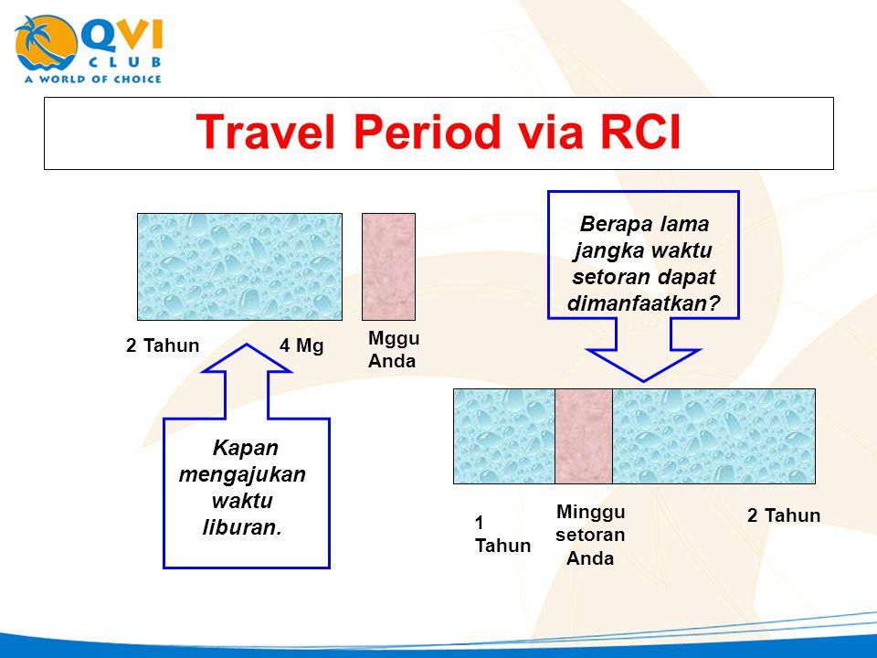 Travel Period via RCI Mggu Anda 2 Tahun 4 Mg Kapan mengajukan waktu liburan. Berapa lama jangka waktu setoran dapat dimanfaatkan? 1 Tahun Minggu setor