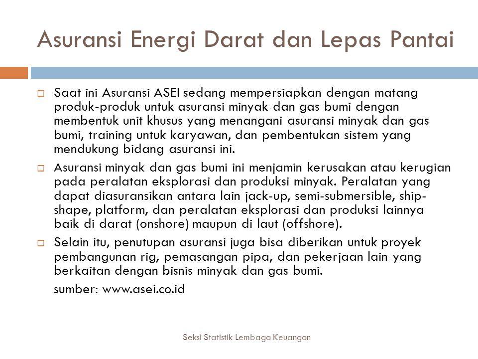 Asuransi Energi Darat dan Lepas Pantai Seksi Statistik Lembaga Keuangan  Saat ini Asuransi ASEI sedang mempersiapkan dengan matang produk-produk untu