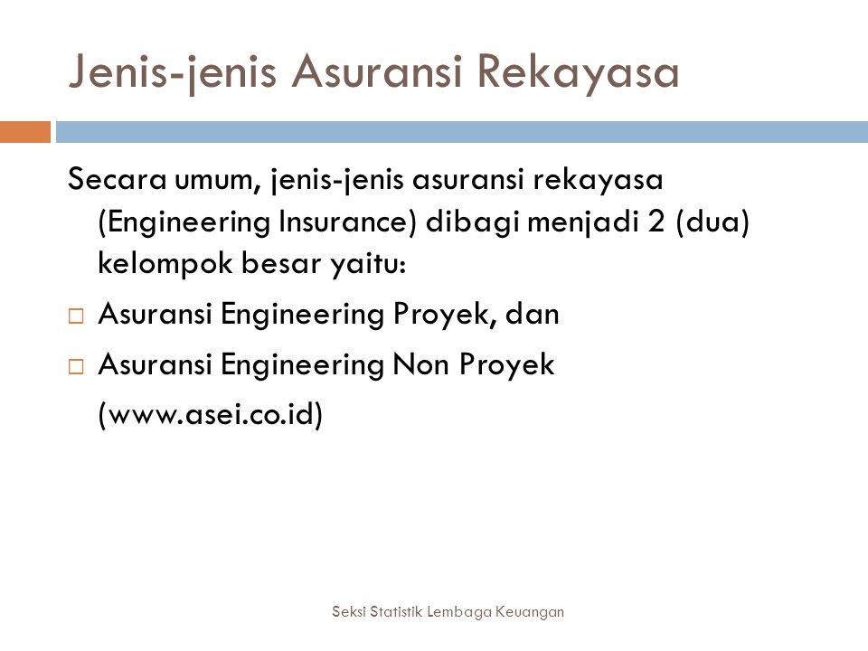 Jenis-jenis Asuransi Rekayasa Seksi Statistik Lembaga Keuangan Secara umum, jenis-jenis asuransi rekayasa (Engineering Insurance) dibagi menjadi 2 (du