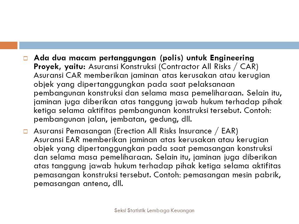 Seksi Statistik Lembaga Keuangan  Ada dua macam pertanggungan (polis) untuk Engineering Proyek, yaitu: Asuransi Konstruksi (Contractor All Risks / CA