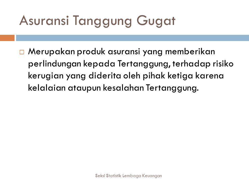 Seksi Statistik Lembaga Keuangan  Hal yang dijamin oleh Asuransi Tanggung Gugat adalah kewajiban Tertanggung membayar ganti rugi atau kompensasi atas kerugian yang diderita oleh Pihak Ketiga.