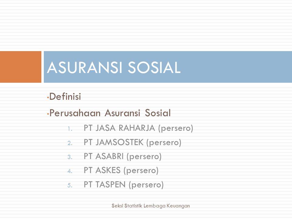 • Definisi • Perusahaan Asuransi Sosial 1. PT JASA RAHARJA (persero) 2. PT JAMSOSTEK (persero) 3. PT ASABRI (persero) 4. PT ASKES (persero) 5. PT TASP