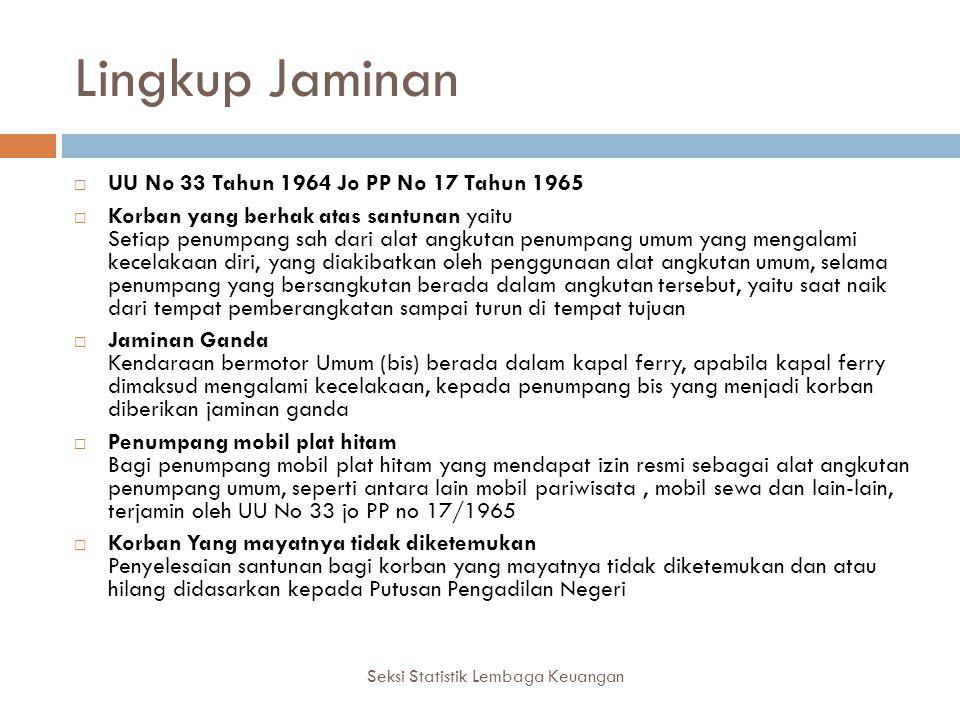Lingkup Jaminan Seksi Statistik Lembaga Keuangan  UU No 33 Tahun 1964 Jo PP No 17 Tahun 1965  Korban yang berhak atas santunan yaitu Setiap penumpan