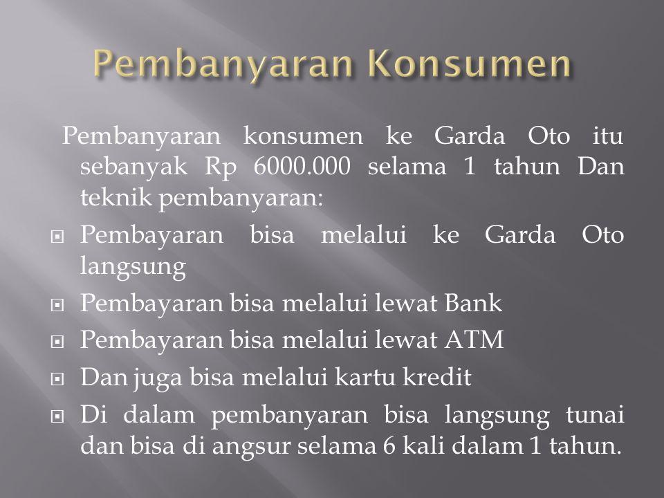 Pembanyaran konsumen ke Garda Oto itu sebanyak Rp 6000.000 selama 1 tahun Dan teknik pembanyaran:  Pembayaran bisa melalui ke Garda Oto langsung  Pe