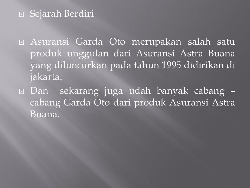  Sejarah Berdiri  Asuransi Garda Oto merupakan salah satu produk unggulan dari Asuransi Astra Buana yang diluncurkan pada tahun 1995 didirikan di ja