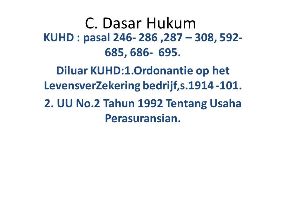 C. Dasar Hukum KUHD : pasal 246- 286,287 – 308, 592- 685, 686- 695. Diluar KUHD:1.Ordonantie op het LevensverZekering bedrijf,s.1914 -101. 2. UU No.2