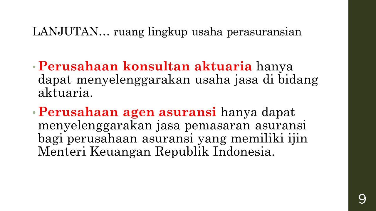 KEPEMILIKAN PERUSAHAAN PERASURANSI Usaha perasuransian hanya dapat didirikan oleh WNI dan atau badan hukum Indonesia yang sepenuhnya dimiliki WNI dan badan hukum Indonesia 20