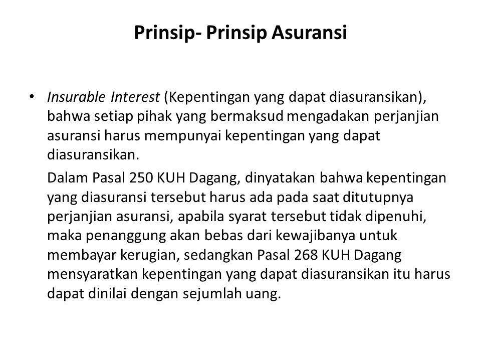 Prinsip- Prinsip Asuransi • Insurable Interest (Kepentingan yang dapat diasuransikan), bahwa setiap pihak yang bermaksud mengadakan perjanjian asurans