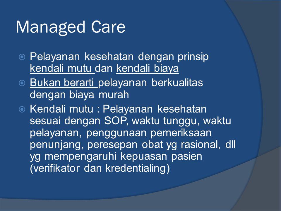 Managed Care  Pelayanan kesehatan dengan prinsip kendali mutu dan kendali biaya  Bukan berarti pelayanan berkualitas dengan biaya murah  Kendali mutu : Pelayanan kesehatan sesuai dengan SOP, waktu tunggu, waktu pelayanan, penggunaan pemeriksaan penunjang, peresepan obat yg rasional, dll yg mempengaruhi kepuasan pasien (verifikator dan kredentialing)