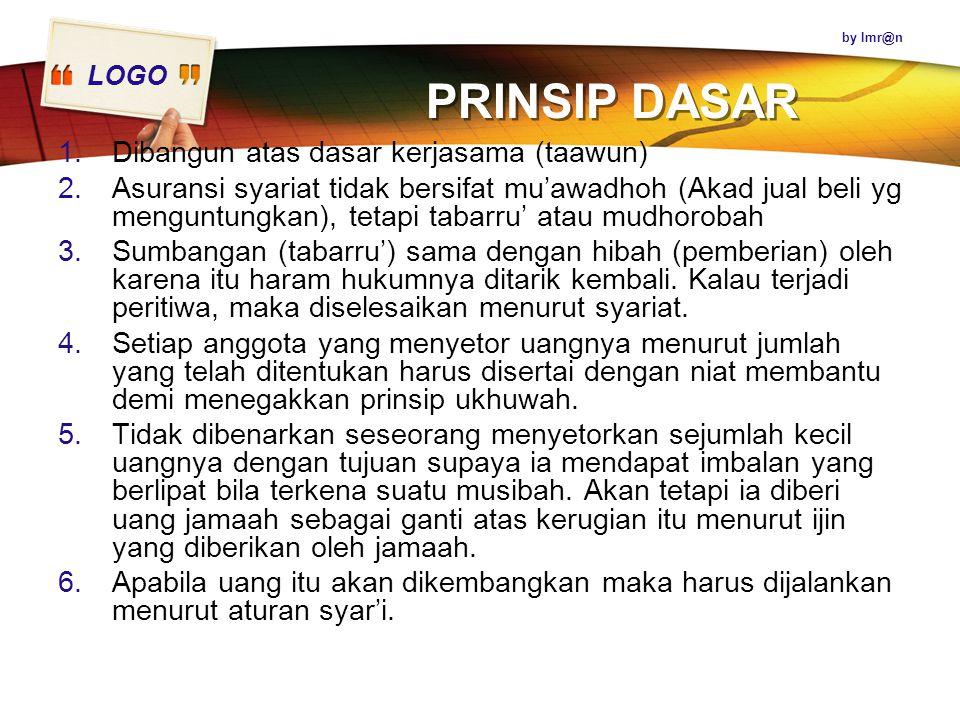 LOGO PRINSIP DASAR 1.Dibangun atas dasar kerjasama (taawun) 2.Asuransi syariat tidak bersifat mu'awadhoh (Akad jual beli yg menguntungkan), tetapi tab