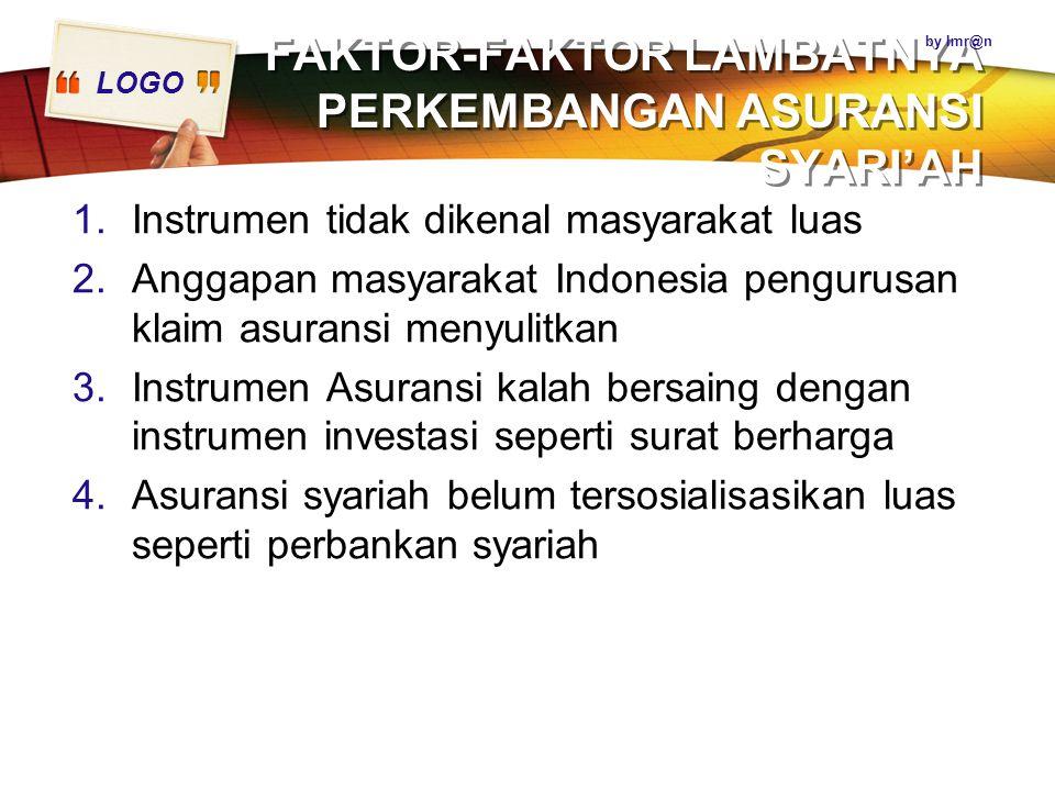 LOGO FAKTOR-FAKTOR LAMBATNYA PERKEMBANGAN ASURANSI SYARI'AH 1.Instrumen tidak dikenal masyarakat luas 2.Anggapan masyarakat Indonesia pengurusan klaim