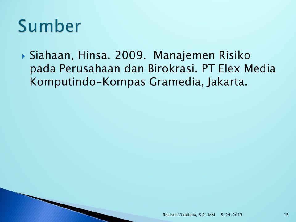  Siahaan, Hinsa. 2009. Manajemen Risiko pada Perusahaan dan Birokrasi. PT Elex Media Komputindo-Kompas Gramedia, Jakarta. 5/24/2013 Resista Vikaliana