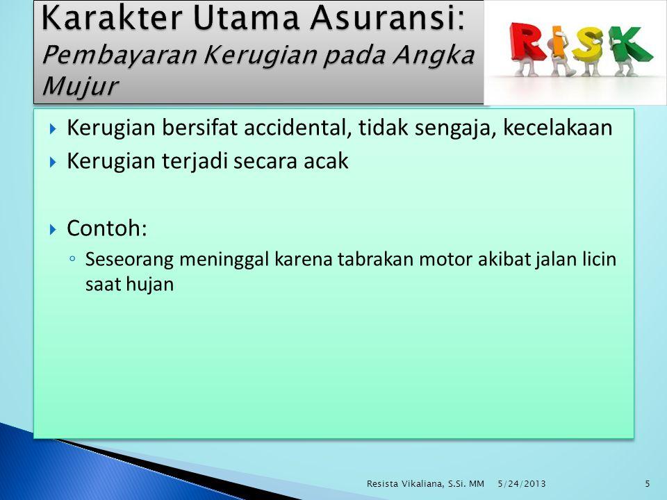  Kerugian bersifat accidental, tidak sengaja, kecelakaan  Kerugian terjadi secara acak  Contoh: ◦ Seseorang meninggal karena tabrakan motor akibat