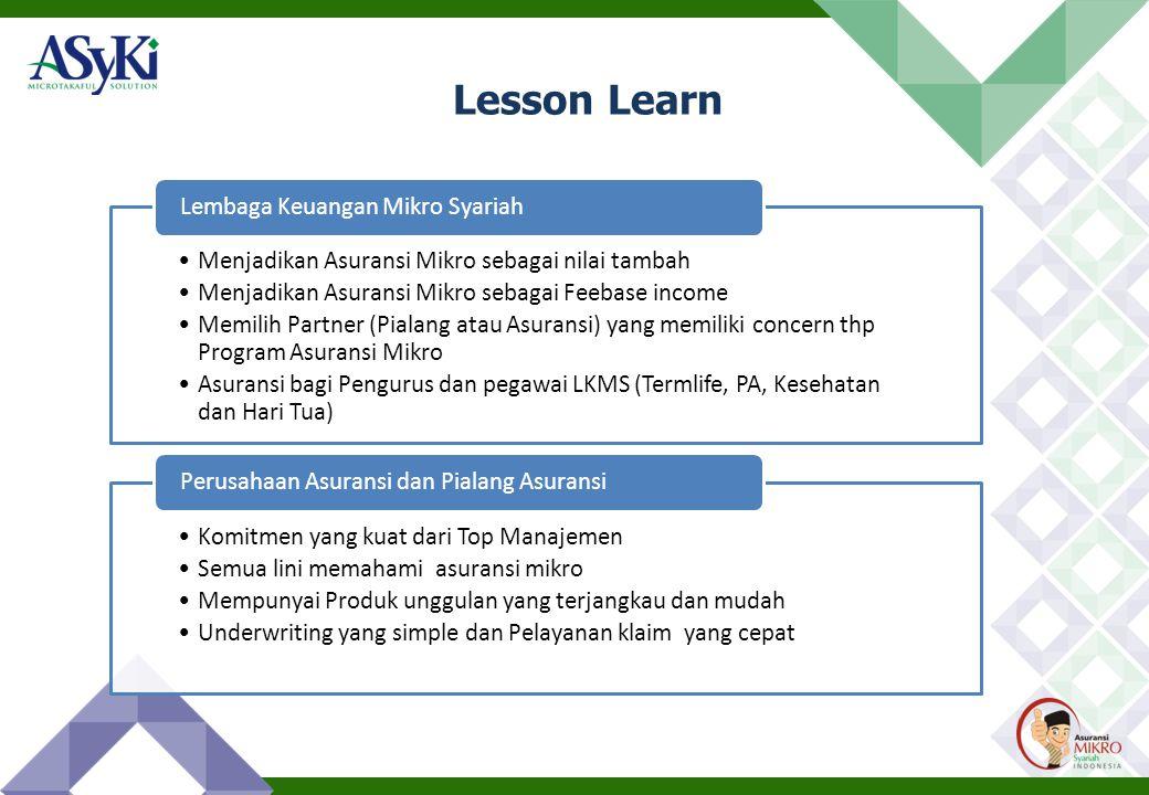 Lesson Learn •Menjadikan Asuransi Mikro sebagai nilai tambah •Menjadikan Asuransi Mikro sebagai Feebase income •Memilih Partner (Pialang atau Asuransi