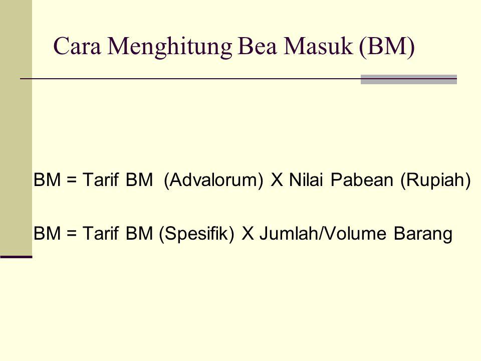 Cara Menghitung Bea Masuk (BM) BM = Tarif BM (Advalorum) X Nilai Pabean (Rupiah) BM = Tarif BM (Spesifik) X Jumlah/Volume Barang